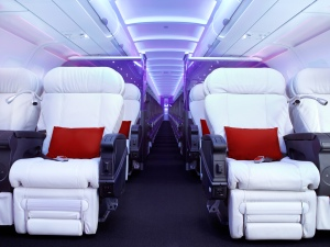 Virgin America's interior featuring one of the most innovative narrow body first class cabins